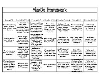 March Homework Calendar