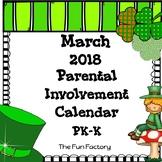 March Homework Calendar 2018 {PK/K}