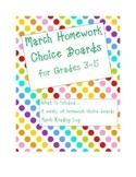 March Homework Choice Board