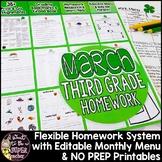 Third Grade Homework March | 35+ NO PREP Printables & Editable Homework Menu