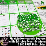 Third Grade Homework March | 35+ NO PREP Printables & Editable Homework Menu