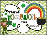 March Homework Pack for Kindergarten