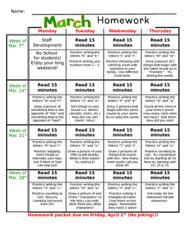 March Homework Packet