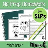 March Homework Packet for Speech Language Therapy