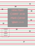 How Many Objects Using Cubes 11-19 Math Station Week 1-2-3-4