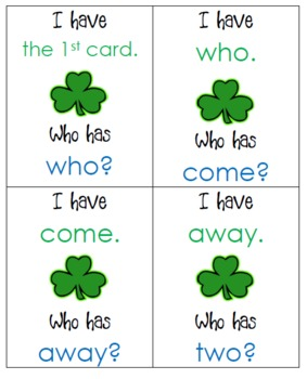 "March ""I Have, Who Has"" Sight Word Game"