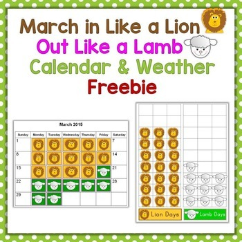 March In Like a Lion Out Like a Lamb Calendar & Weather Activity
