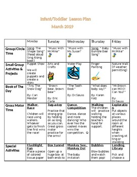March Infant/Toddler Lesson Plan by Madeline's Teacher ...
