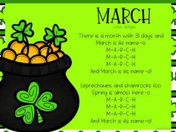 March Interactive Calendar Flipchart for 1st Grade