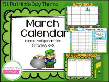 March Interactive Calendar for ActivInspire & Smartboards