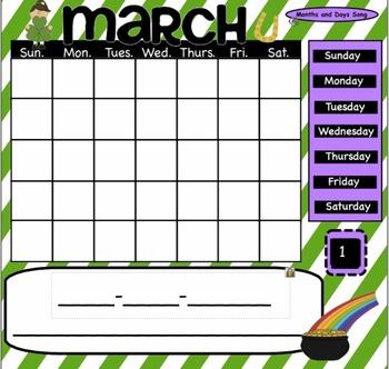March Interactive SmartBoard Calendar