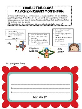 March Is Reading Month Character Clues Be Your Favorite Character