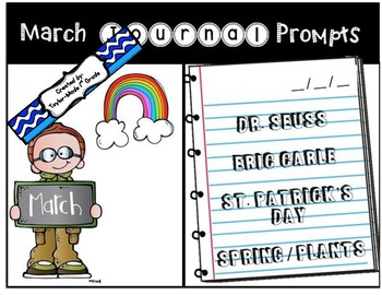 March Journal Prompts - NO PREP & PAPERLESS