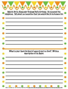 March Journal Topic Quick Writes