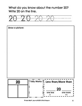 March Kinder Math Journal