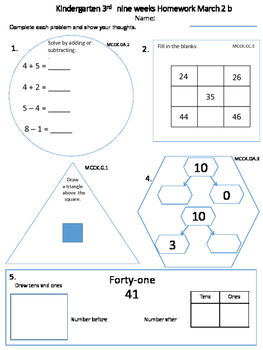 Kindergarten March  math class/homework-spiral review with constructed response