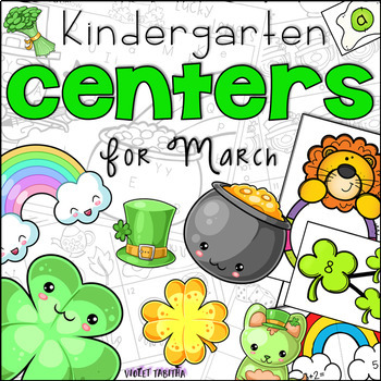 March Kindergarten 20 Centers (Math and Literacy)