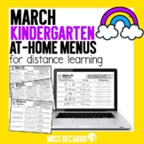 March Kindergarten At Home Menus Distance Learning