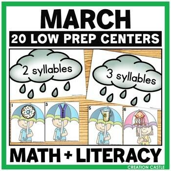 March Kindergarten Centers - Math and Literacy