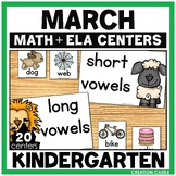Kindergarten Math and Language Arts Centers for March