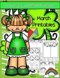 March Kindergarten Math & Literacy Pack (St. Patrick's Day, Rainbows, Kites)