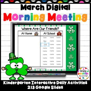 March Kindergarten Digital Morning Meeting For GOOGLE SLIDES