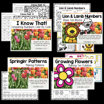March Kindergarten Math Centers with Task Cards