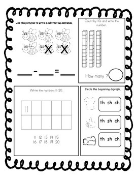March Kindergarten Morning Work, Daily Math and Literacy Practice