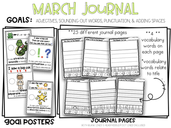 March Kindergarten Writing Journal Adjectives Punctuation