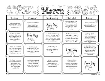 March Kindergarten Writing Prompts and Journal Pages (CCS Aligned)