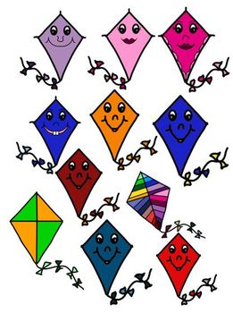 March Kites and Owls with Kites clip art