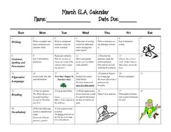 March Language Arts Calendar