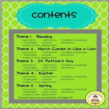 March  Language and Vocabulary Printables for Middle School Speech Therapy