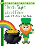 March Leprechaun Sight Word Game - Pre-Primer / Pre-K Words