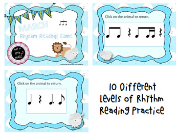 March Lion/Lamb Rhythm Reading Games BUNDLE of 10