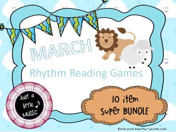 March Lion/Lamb Rhythm Reading Games Super BUNDLE