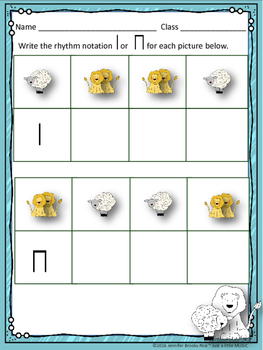 March Lion & Lamb--Worksheet pack for practicing rhythm & melodic notation