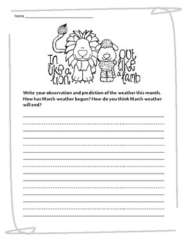 March Lion and the Lamb Weather Writing Freebie