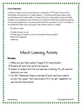 March Listening Activity