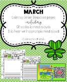 March Listening Center Response Pages QR Codes to read-alouds & Prompts