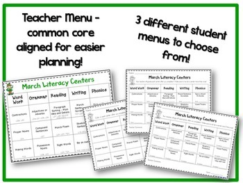 March Literacy & Math Centers Menu BUNDLE {Common Core Aligned} Grade 2