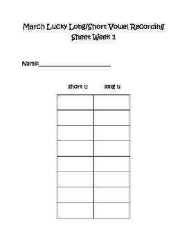 Lucky Long & Short Vowel Sort Literacy Center Week 1 & 2