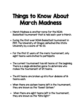 March Madness 2016: Activities for your Classroom!