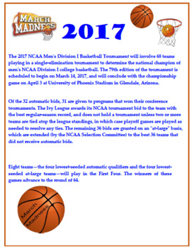 March Madness 3rd-4th Grade Math Word Problems