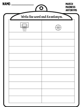 March Madness Antonyms