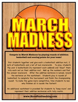March Madness Basketball Addition Activity