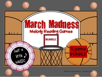March Madness--Basketball Themed Melodic Reading 5 Game BUNDLE