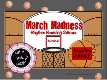 March Madness--Basketball Themed Rhythm Reading 10 Game BUNDLE
