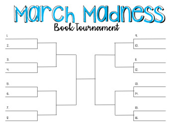 March Madness Book Tournament Bracket and Bulletin Board Letters