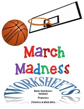 March Madness Bundle of Math Worksheets-Grades 3-6